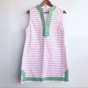 Crown & Ivy Striped Sleeveless Mini Embroider Dres